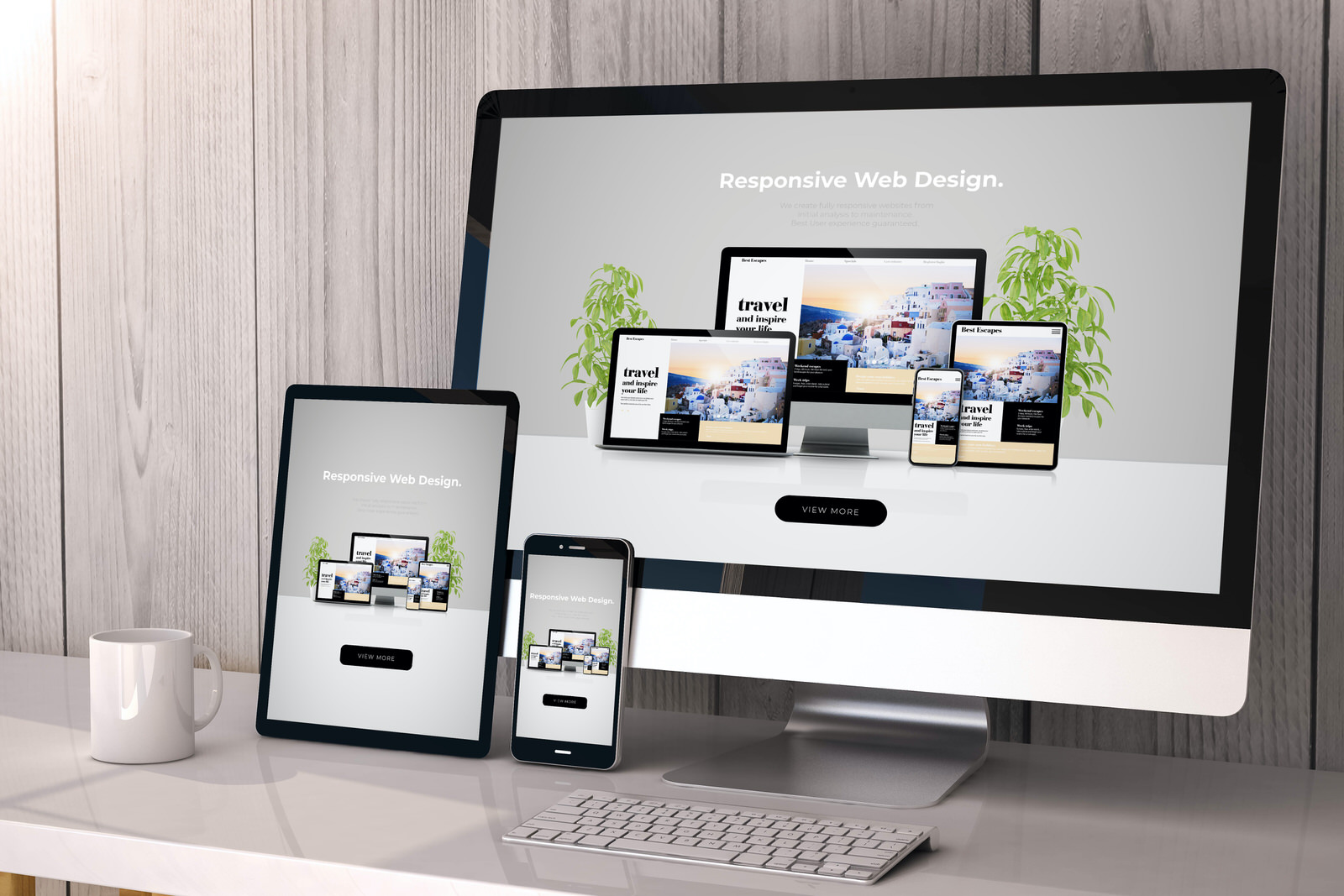 Responsive web design on desktop, tablet and phone